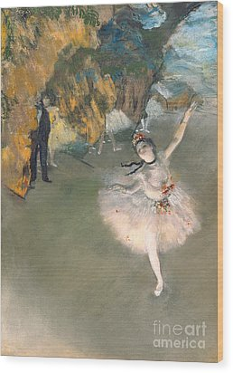 The Star Or Dancer On The Stage Wood Print by Edgar Degas