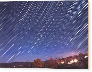 The Star Trail In Ithaca Wood Print by Paul Ge