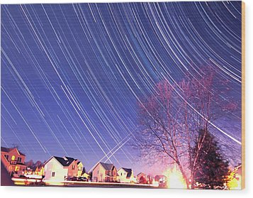 The Star Trails Wood Print by Paul Ge