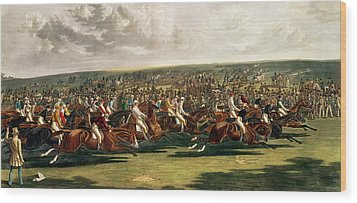 The Start Of The Memorable Derby Of 1844 Wood Print by Charles Hunt