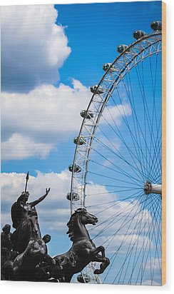 The Statue Of Boadicea Standing In Front Of The London Eye In England Wood Print by Nila Newsom