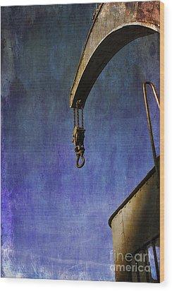 The Steam Crane Wood Print by Brian Roscorla
