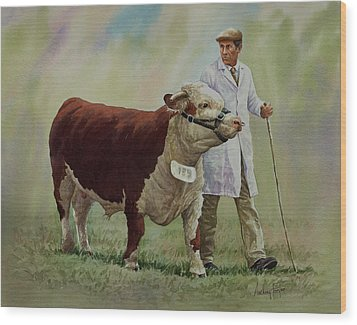 The Stockman And Bull Wood Print by Anthony Forster