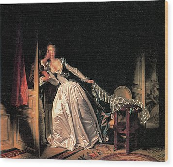 The Stolen Kiss Wood Print by Jean-Honore Fragonard
