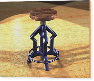 Wood Print featuring the digital art The Stool Twin by Giuseppe Epifani