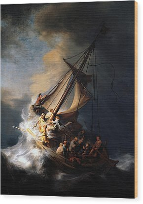 The Storm On The Sea Of Galilee Wood Print by Rembrandt
