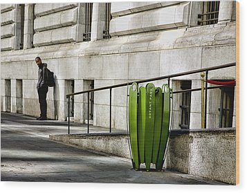 The Story Of Him Waiting And A Green Trashcan Wood Print by Joanna Madloch