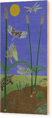 The Story Of The Dragonfly With Description Wood Print by Gerald Strine