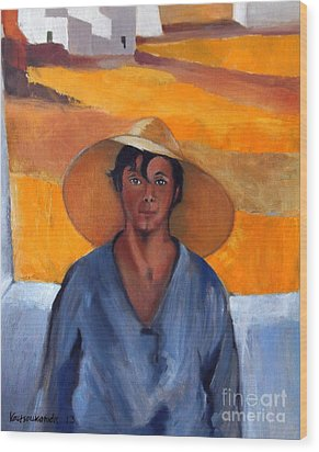 The Straw Hat - After Nikolaos Lytras Wood Print by Kostas Koutsoukanidis