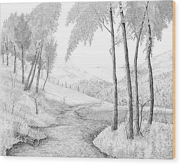 The Stream Wood Print by Carl Genovese
