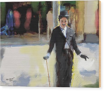 The Street Entertainer Wood Print by Ted Azriel