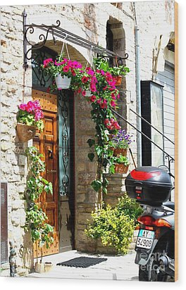 Wood Print featuring the photograph The Streets Of Assisi 1 by Theresa Ramos-DuVon