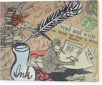 The Studious Rabbit And The Monkey Wood Print by Eloise Schneider