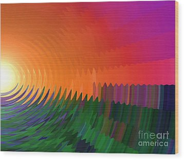 Wood Print featuring the painting The Sun Drops Into The Horizon by Pet Serrano