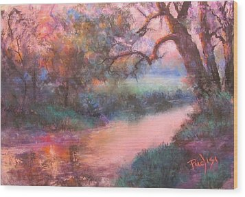 The Sun Going Down On Cocalico Creek Wood Print
