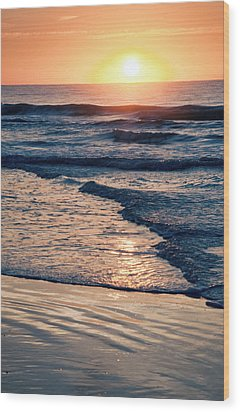Sun Rising Over The Beach Wood Print by Vizual Studio