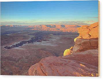 The Sun Sets On Canyonlands National Park In Utah Wood Print by Alan Vance Ley