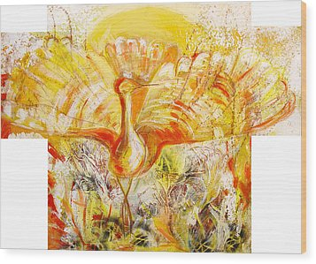 The Sun's Bird Wood Print by Otilia Gruneantu Scriuba