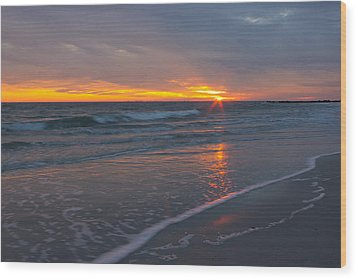 The Sunset Kissing The Waves Wood Print