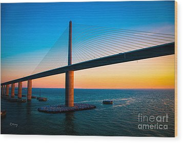 The Sunshine Under The Sunshine Skyway Bridge Wood Print