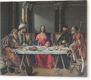 The Supper At Emmaus Wood Print by Vittore Carpaccio