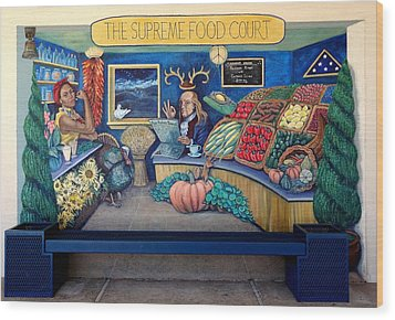 The Supreme Food Court Wood Print by Elizabeth Criss