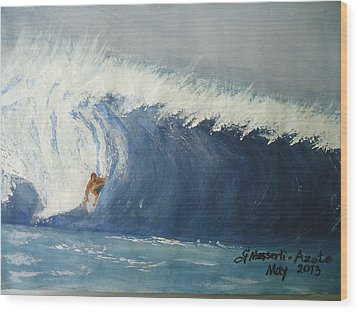 The Surfing Wood Print by Fladelita Messerli-