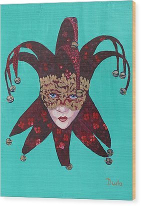 The Sweetheart Of Arlecchino Colombina Venitian Mask Wood Print