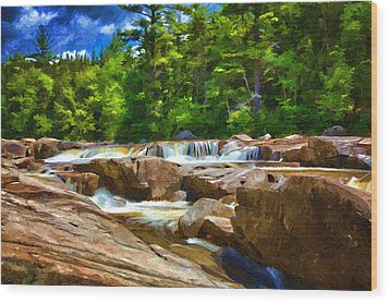 The Swift River Beside The Kancamagus Scenic Byway In New Hampshire Wood Print by John Haldane