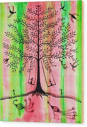 The Swing Wood Print by Anjali Vaidya