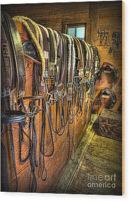 The Tack Room - Equestrian Wood Print by Lee Dos Santos
