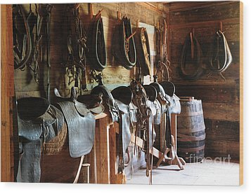 The Tack Room Wood Print by Vinnie Oakes