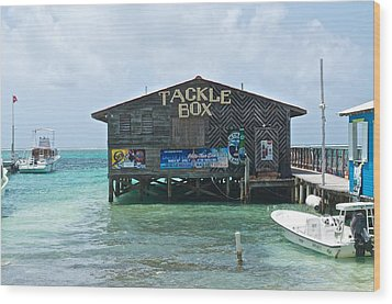 The Tackle Box Sign Wood Print by Kristina Deane