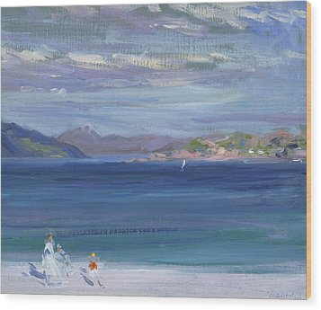 The Tail Of Mull From Iona Wood Print by Francis Campbell Boileau Cadell