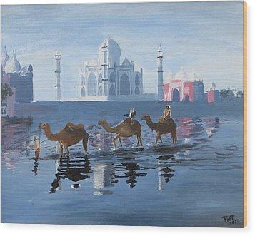 The Taj Mahal And The Yamuna River Wood Print
