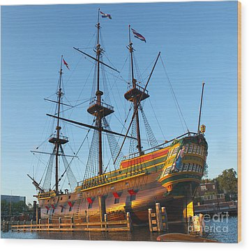The Tall Clipper Ship Stad Amsterdam - Sailing Ship  - 04 Wood Print by Gregory Dyer