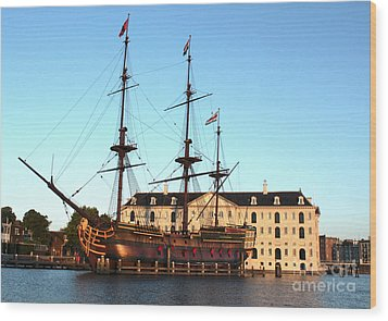 The Tall Clipper Ship Stad Amsterdam - Sailing Ship  - 05 Wood Print by Gregory Dyer