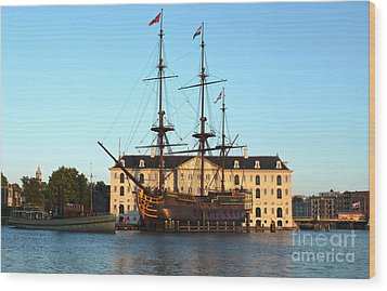 The Tall Clipper Ship Stad Amsterdam - Sailing Ship - 07 Wood Print by Gregory Dyer