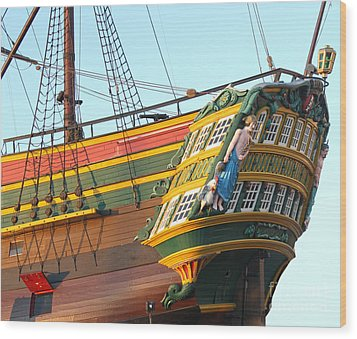 The Tall Clipper Ship Stad Amsterdam - Sailing Ship  - 08 Wood Print by Gregory Dyer