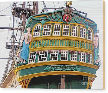 The Tall Clipper Ship Stad Amsterdam - Sailing Ship  - 09 Wood Print by Gregory Dyer