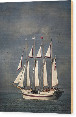 The Tall Ship Windy Wood Print by Dale Kincaid
