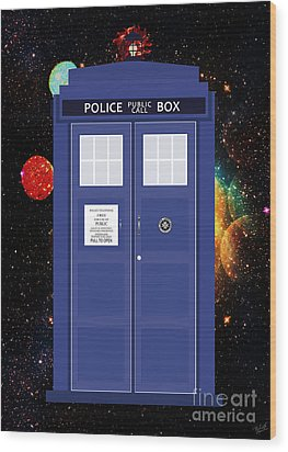 The Tardis Wood Print by Nishanth Gopinathan