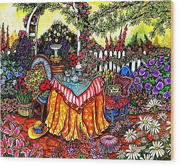 The Tea Party Wood Print by Sherry Dole