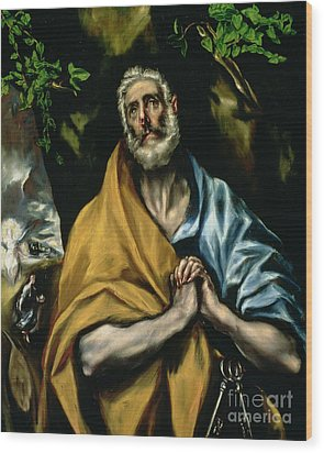 The Tears Of St Peter Wood Print by El Greco Domenico Theotocopuli