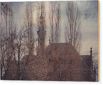 The Temple Bell Dies Away 2. Pink Spring In Amsterdam Wood Print by Jenny Rainbow
