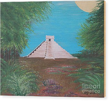 Wood Print featuring the painting The Temple Of Kukulcan by Alys Caviness-Gober