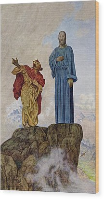 The Temptation Of Christ Wood Print by Hans Thoma
