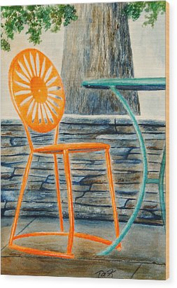 The Terrace Chair Wood Print by Thomas Kuchenbecker