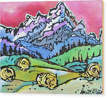 Wood Print featuring the painting The Tetons From Walton Ranch by Nicole Gaitan