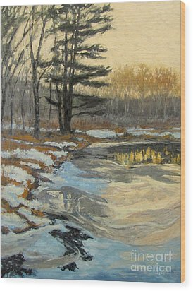 The Thawing Pond - Hudson Valley Wood Print by Gregory Arnett